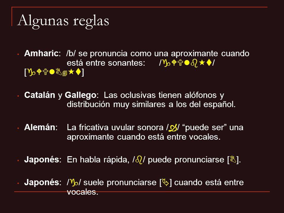 Algunas reglas Amharic: /b/ se pronuncia como una aproximante cuando está entre sonantes: /gWUlbt/ [gWUlBt]